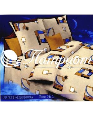 КПБ 1.5 спальный Графика, бежевый, набивная бязь 142 гм2 751-1